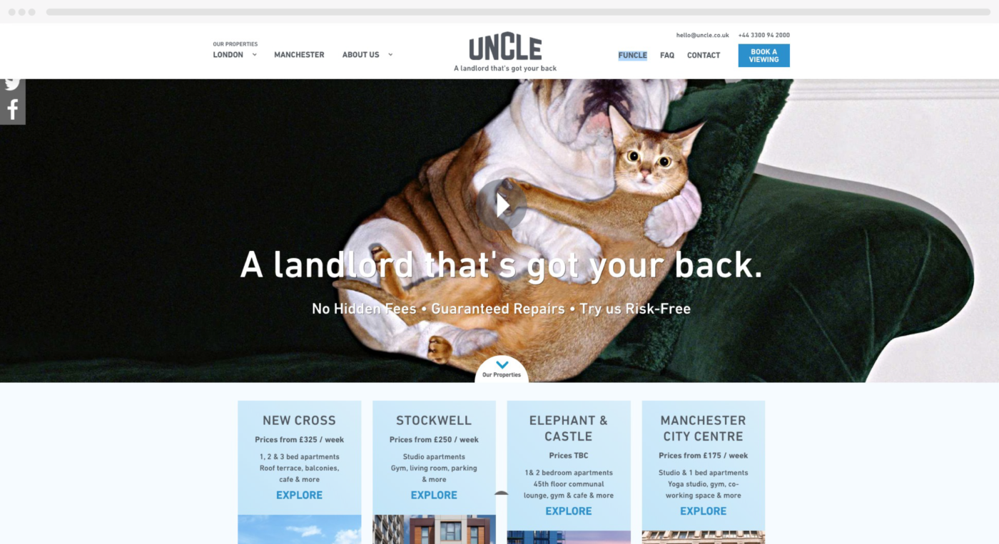 Previous Uncle Site design