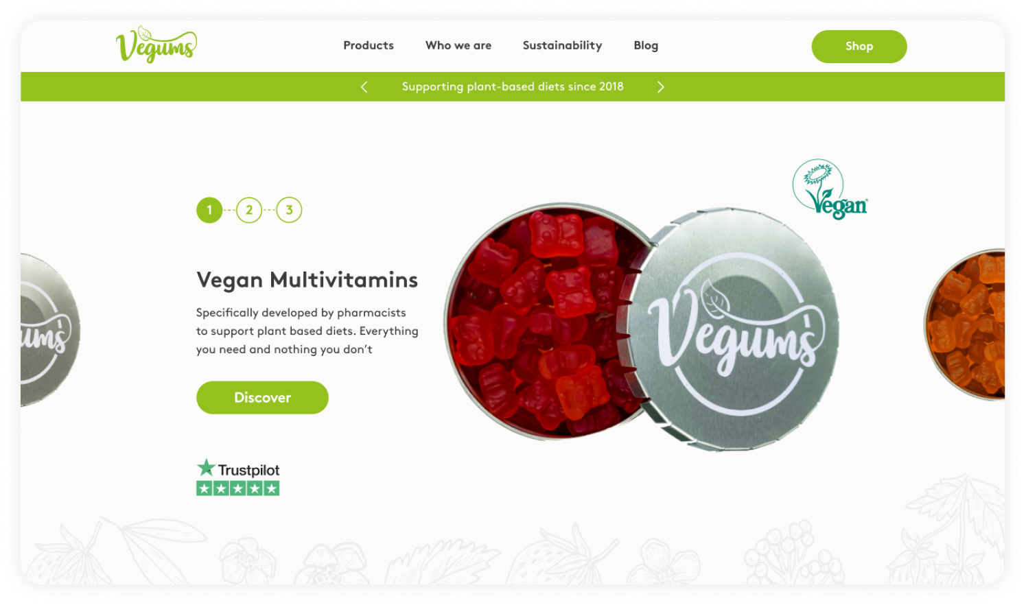 CRO project - cart design as part of website design and build for our client Vegums, a challenger brand in the nutritional supplements market