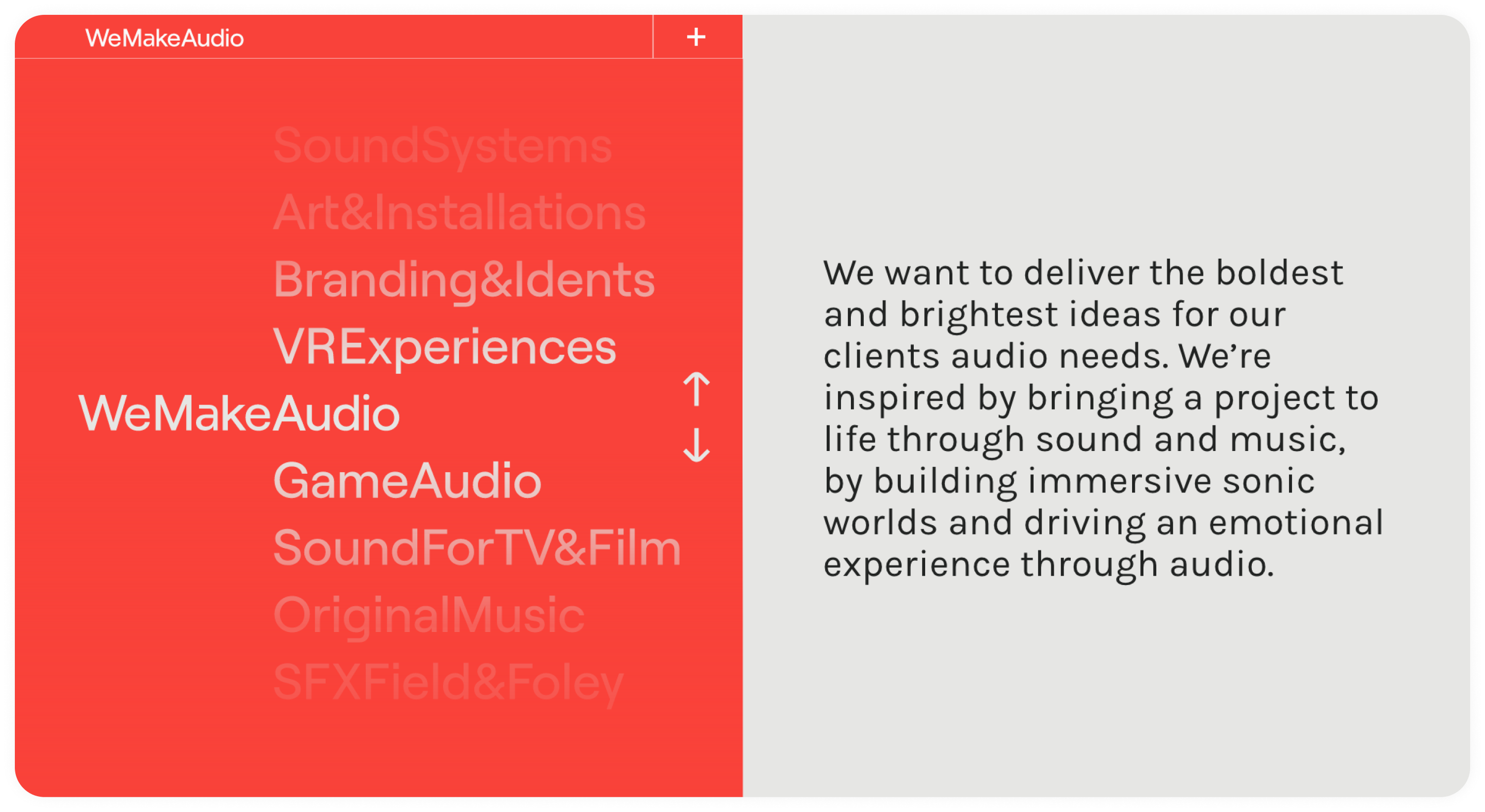 WeMakeAudio CRO project - Website and branding - how we displayed the clients full offering