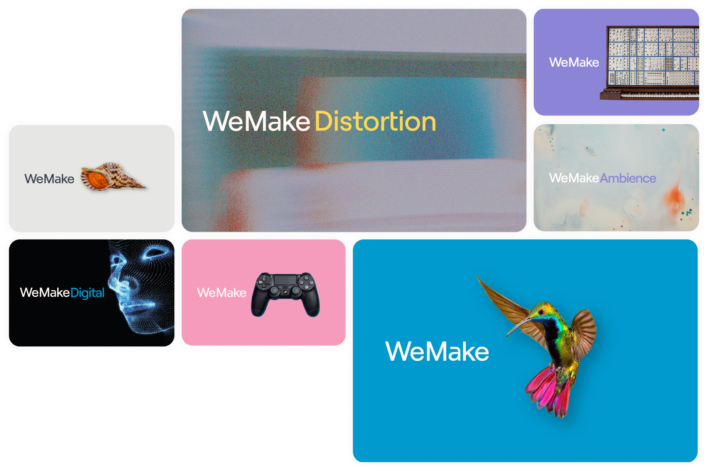 WeMakeAudio CRO project - Website and branding - how we displayed the clients full offering with design assets