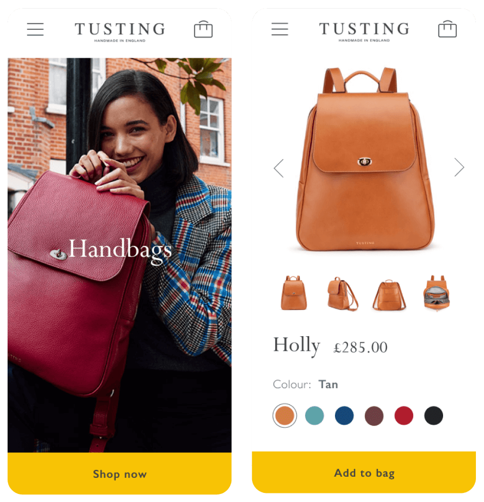 Mobile optimisation for a CRO website build for our client Tusting - a challenger brand that make high quality leather goods
