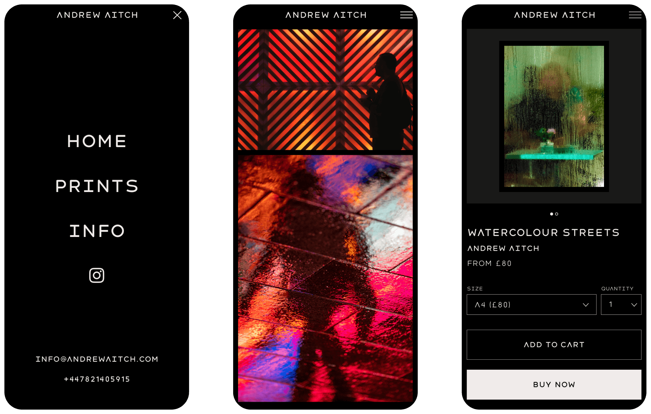 Mobile site design for Andrew Aitch - Challenger brand for Photography Business