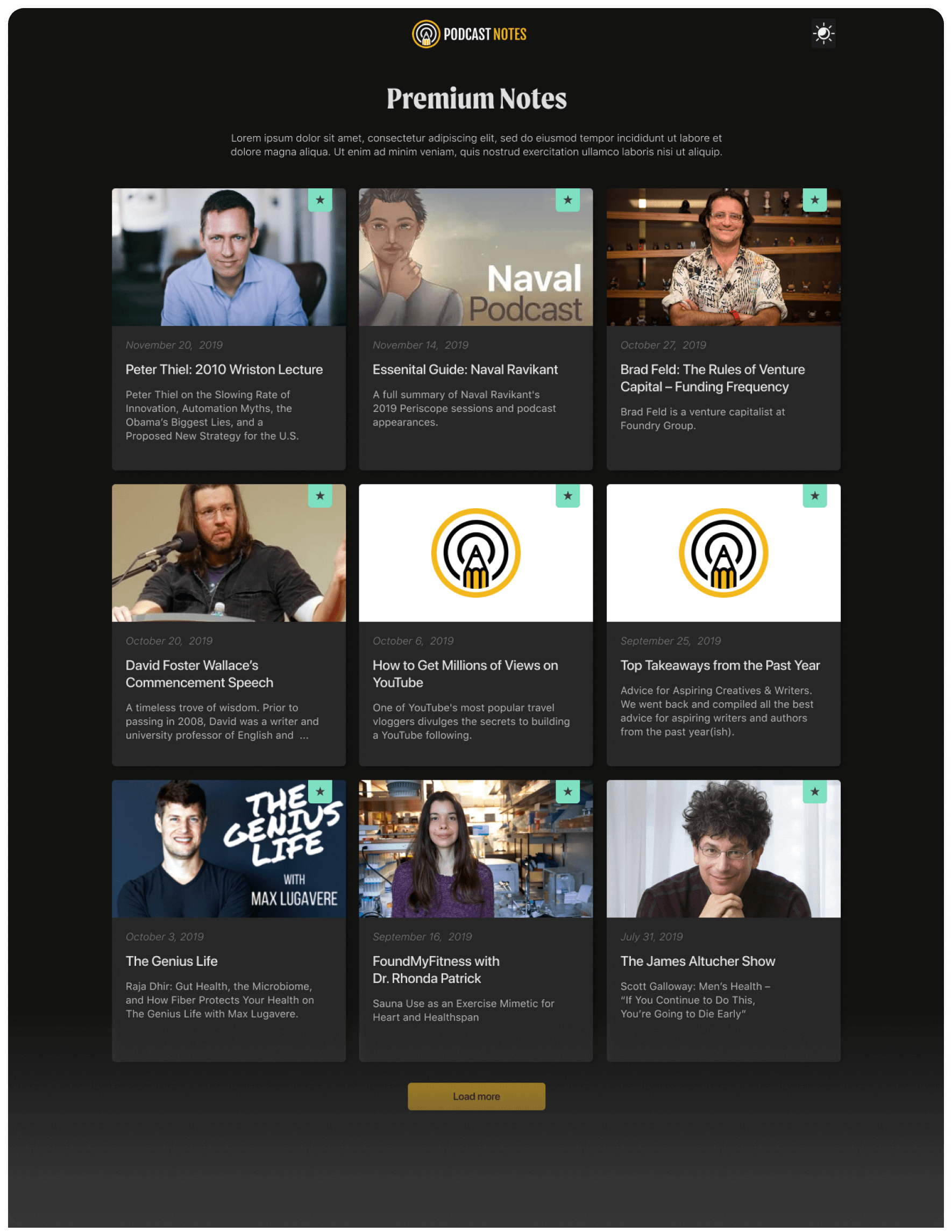 Podcast Notes - Challenger brand for Podcast Business - card assets created