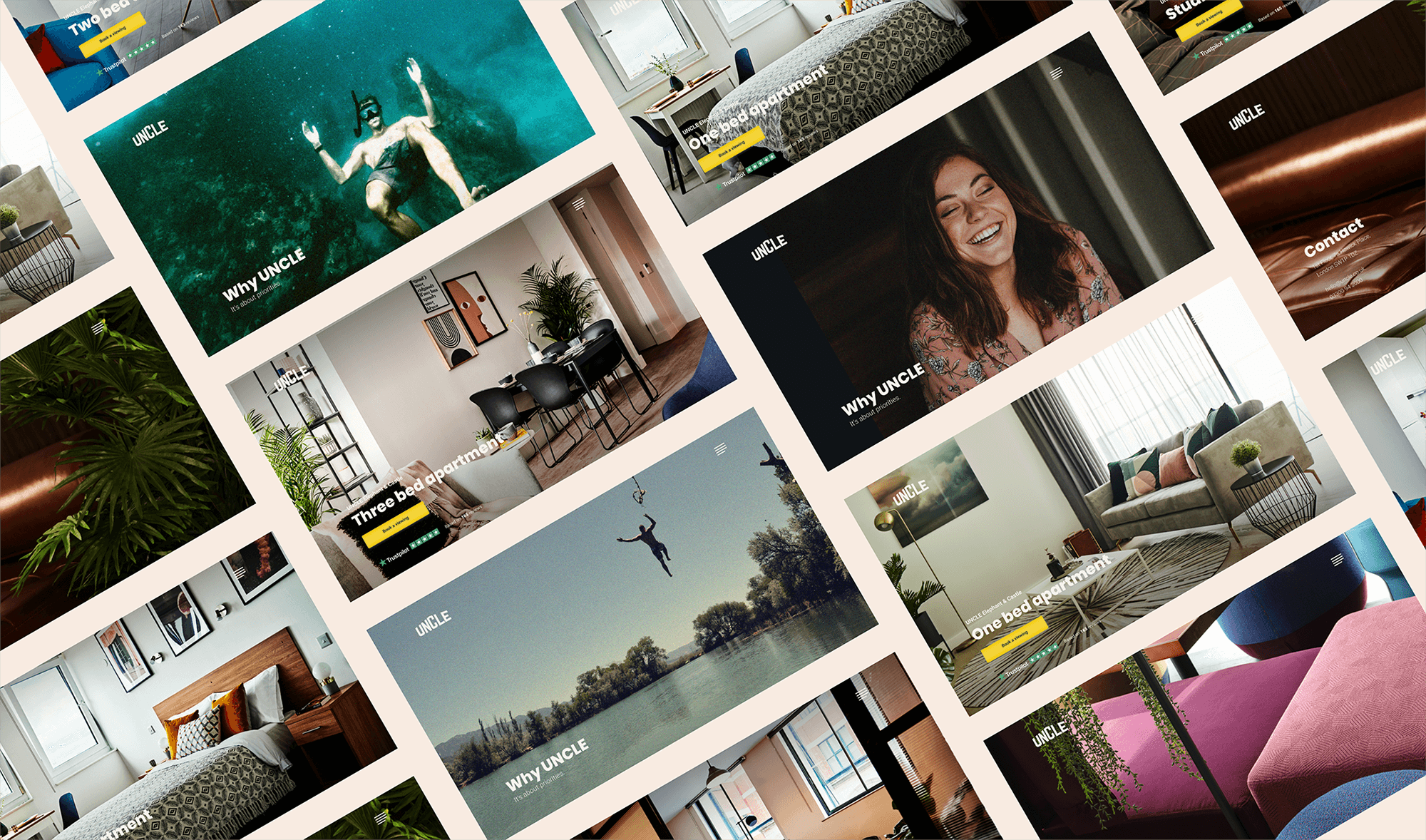 CRO project - website build for our client UNCLE, a challenger brand in the luxury property rental market
