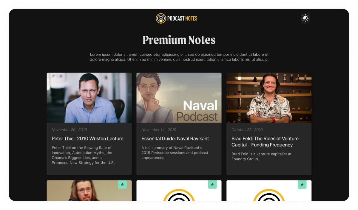 Podcast Notes - Challenger brand for Podcast Business - Site design and build