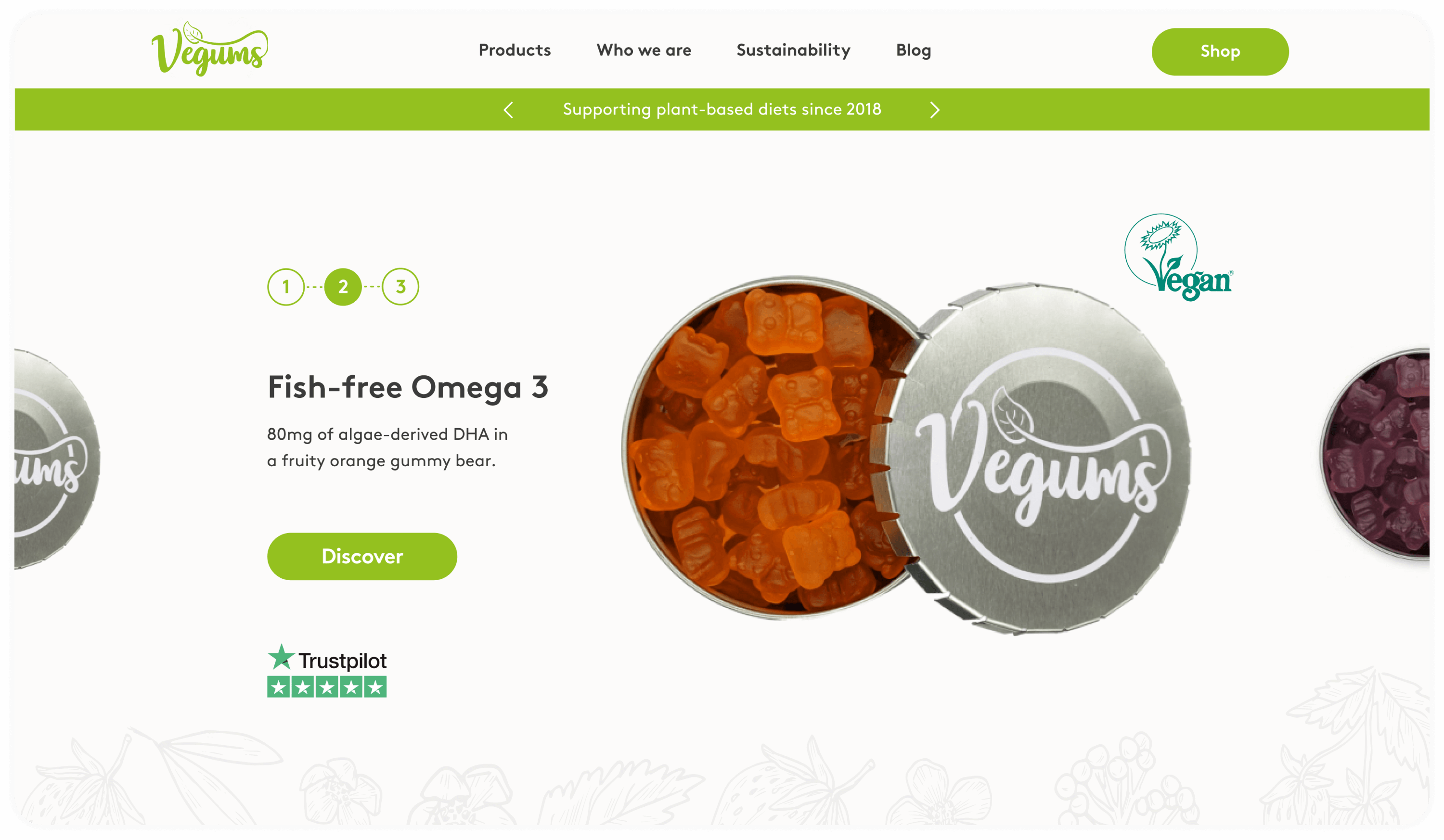 CRO project - home page slider as part of website design and build for our client Vegums, a challenger brand in the nutritional supplements market