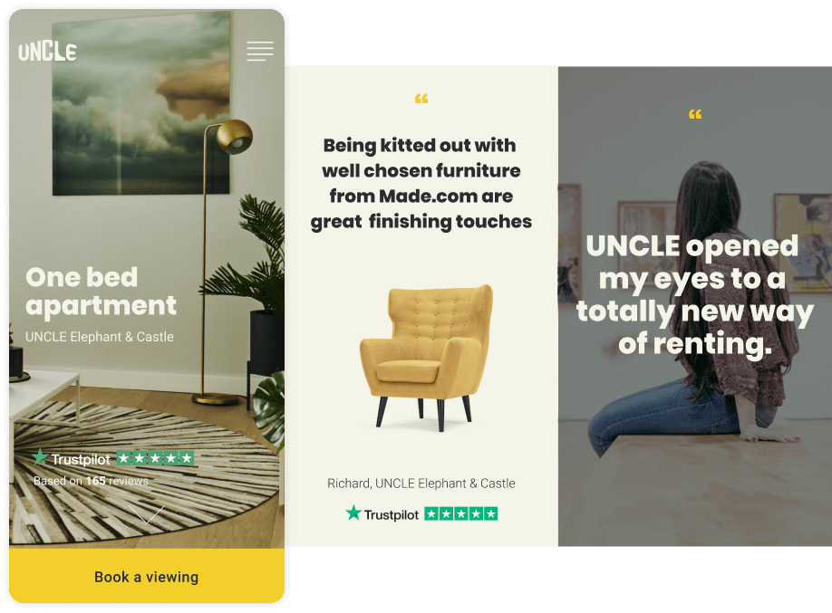 mobile website build for our client UNCLE - a challenger brand in the luxury property rental market
