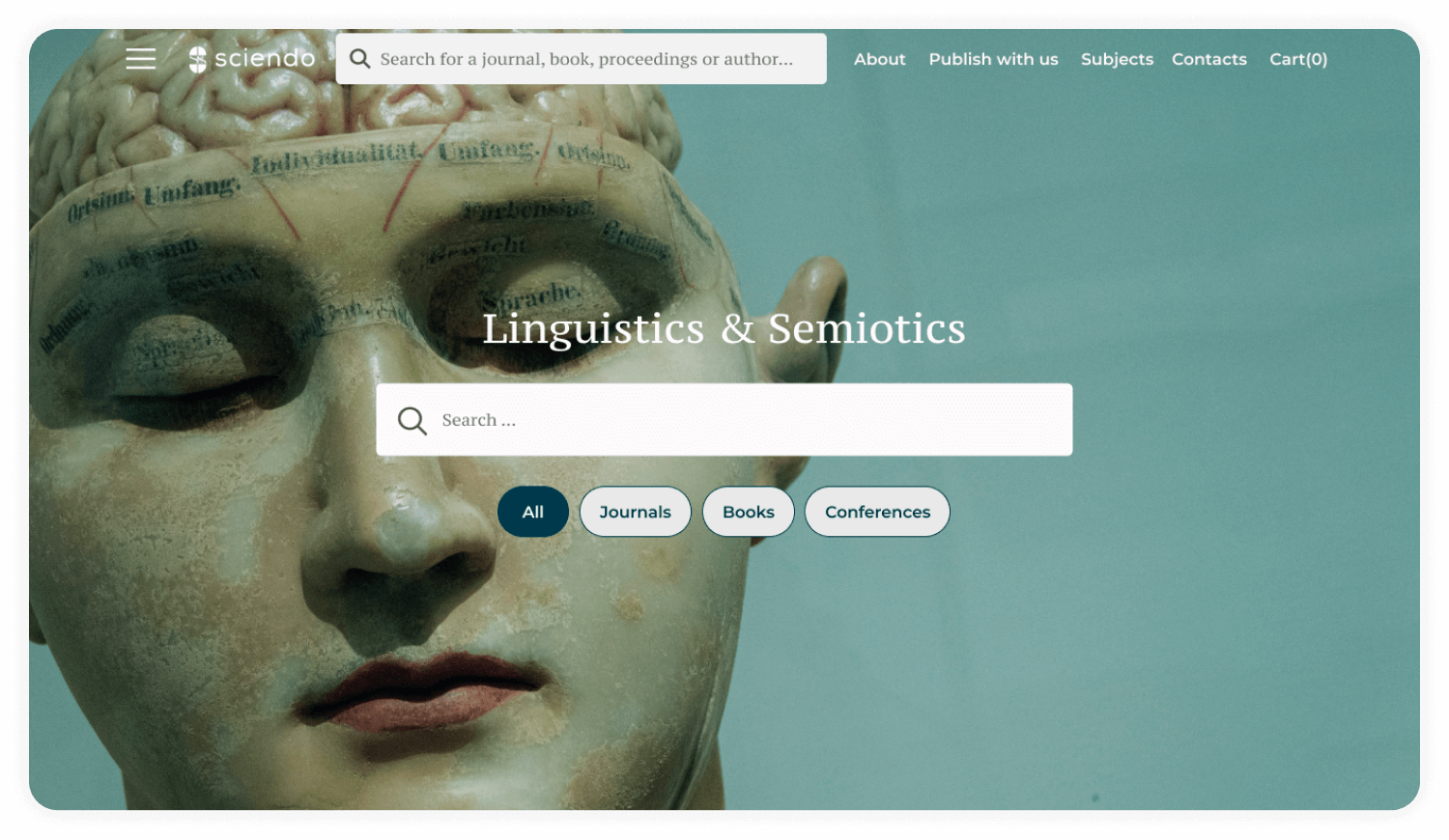 Sciendo journals website search and filter feature