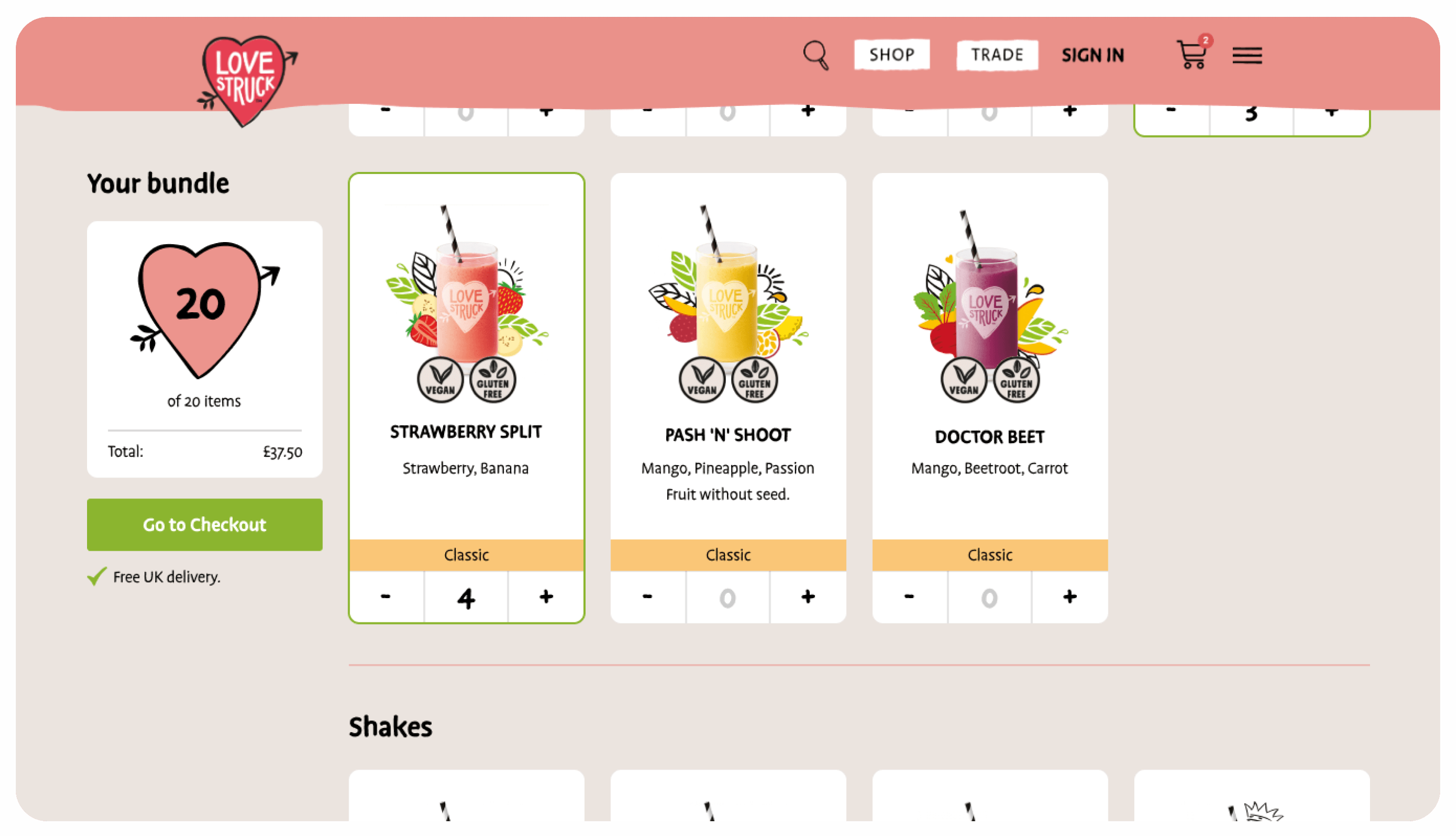 increased conversions of 200% with design changes and build for Love Struck