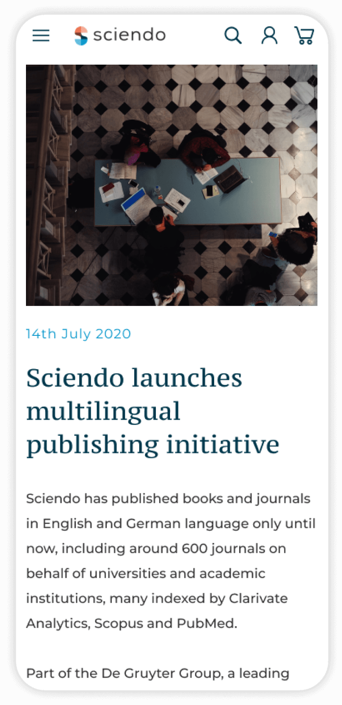 Sciendo features on mobile
