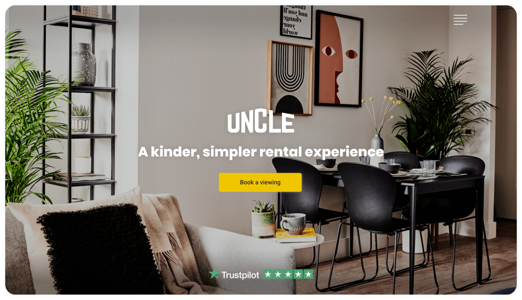 website design and build for our client UNCLE - a challenger brand in the luxury property rental market